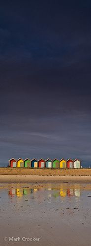 Beach Huts on the North Sea, Blyth, Northumberland, UK