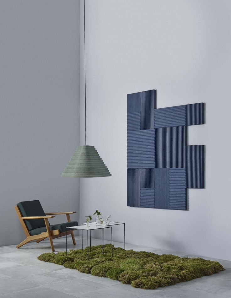 Rimpi M Acoustic Lighting Pendant In Moss Color And Collection Of Rimpi Wall  Panels In Blueberry.