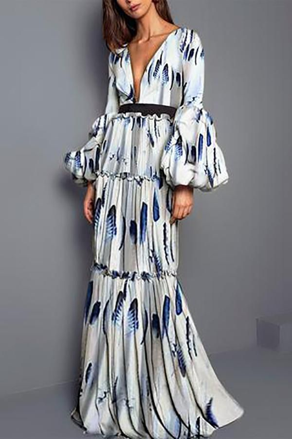 Sexy Feather Printed Split Joint Maxi Dress  9c54006821b6