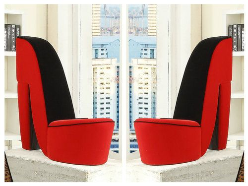 High Heel Chair Shoe Stiletto Red Bedroom Home Accent Furniture Seat Modern  Side