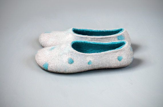 Felted slippers gray and turquoise wool slippers by burebure