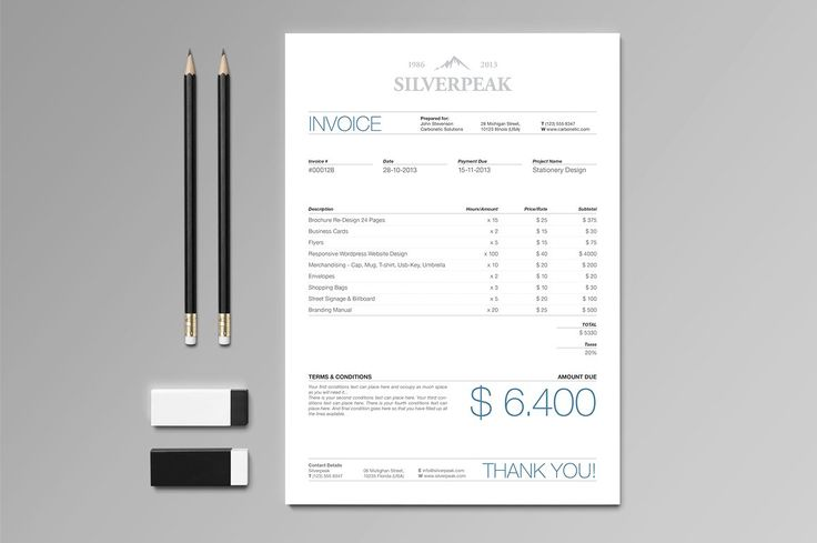 Silverpeak Stationery Set & Invoice by Andre28 on @creativemarket