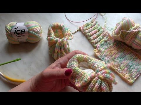 Škola pletení: jednoduché bačkůrky pro miminko, 2. díl - YouTube