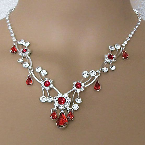 SOFIA RHINESTONE RED JEWELRY SET