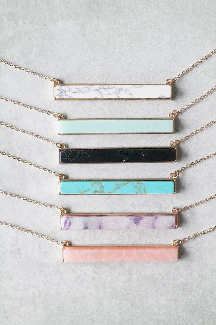 "Add a pop of color to your look with this stylish stone bar necklace. Details: - 27"" + 3"" extender - Gold plated - Lobster closure clasp"