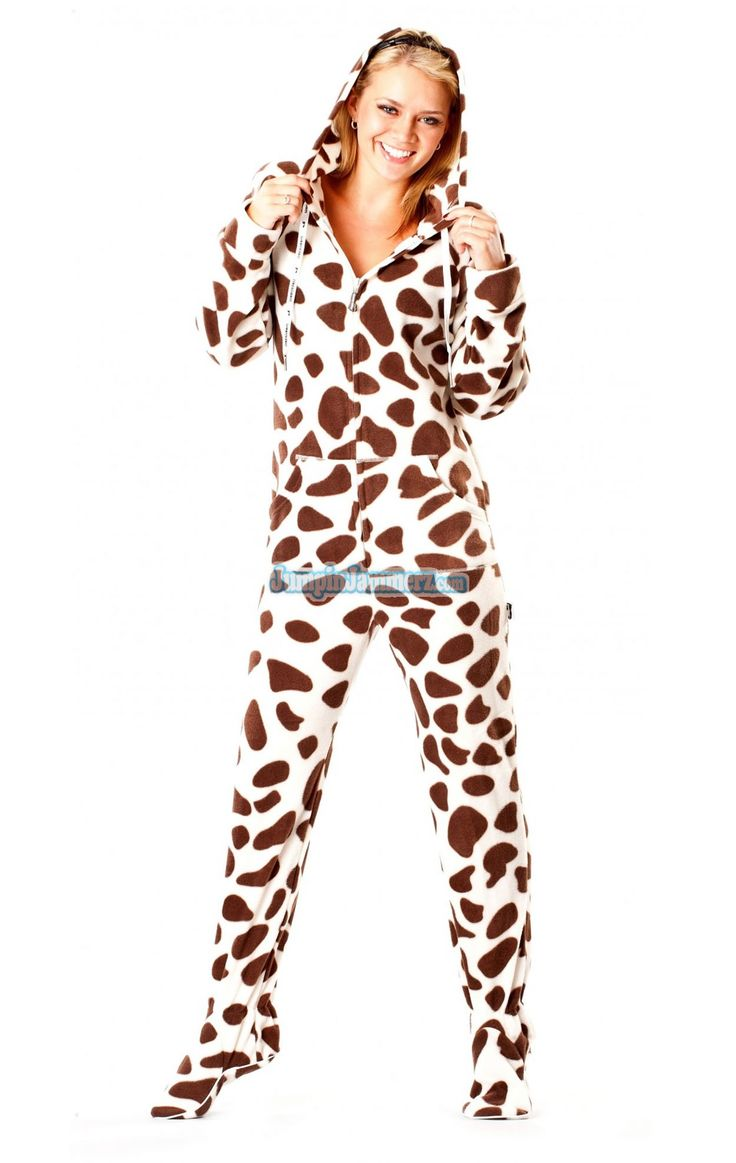 Brown Cow Footed Pajamas Features Thumb Holes Front