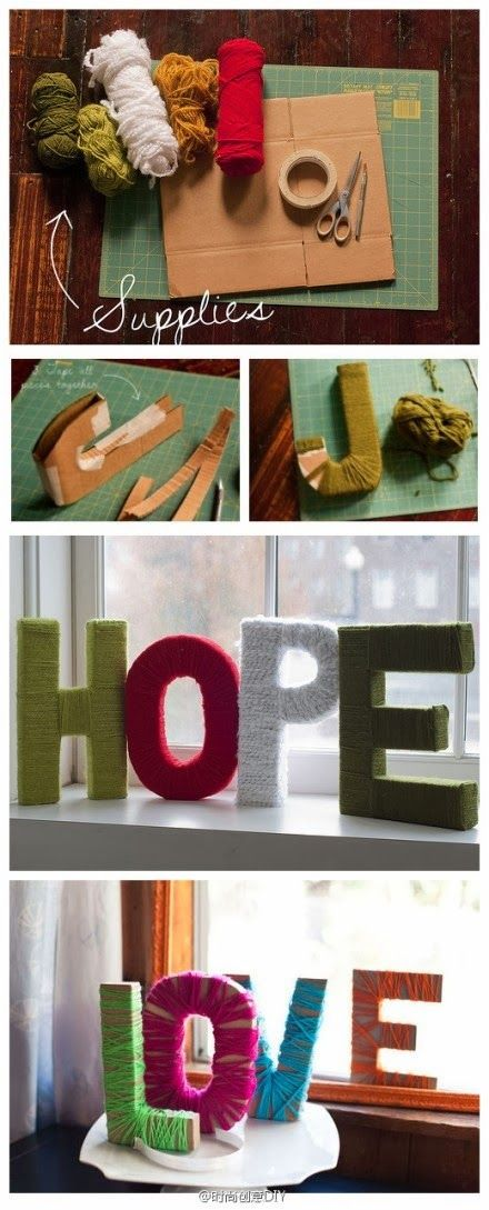 DIY letters ~~ love that I can make them out of cardboard instead of going to buy them!