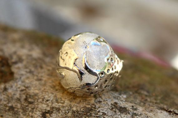 Moon ring jewelry sterling silver ring full moon by jewelsculpts