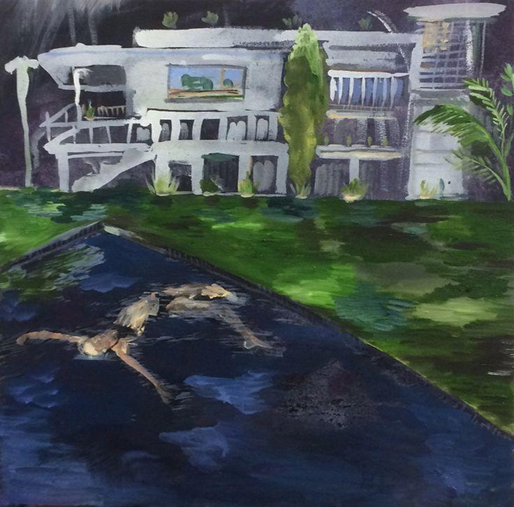 Karoliina Hellberg: Uima-allas, 2015, oil and acrylic paint on canvas, 50x50 cm