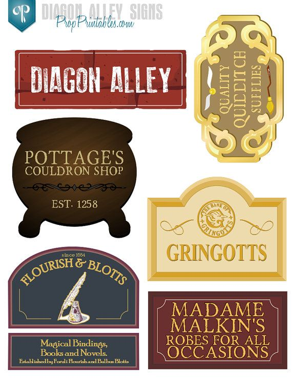 Diagon Alley Signs - Printable