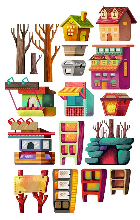 Illustration Set: Buildings & Magical Items on Behance