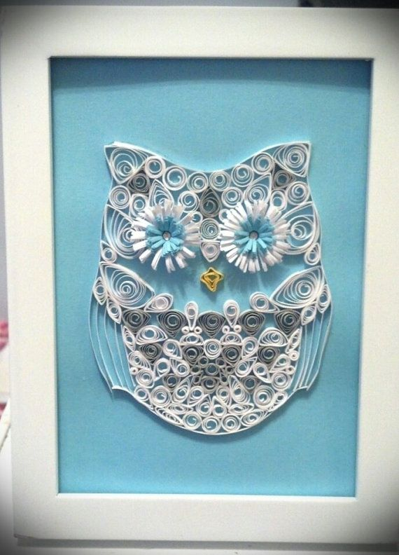 Paper Quilled Owl 5x7 Shadow Box