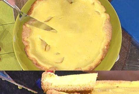 """La ricetta della torta di formaggio e pere di Alessandra Spisni del 15 febbraio 2018, a """"La prova del cuoco""""."""