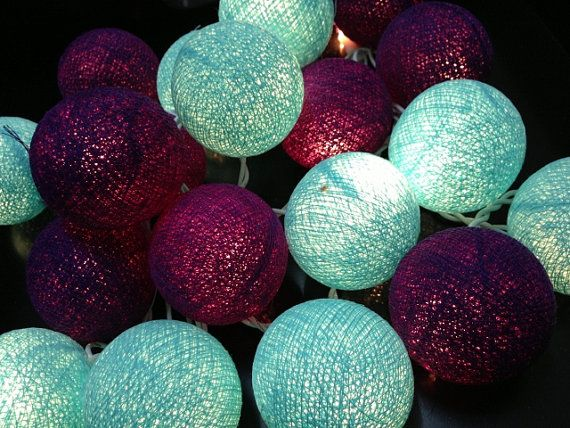Dark Purple & Turtuoise Cotton Ball String Light Fairy Light Bedroom or Party on Etsy, $12.99