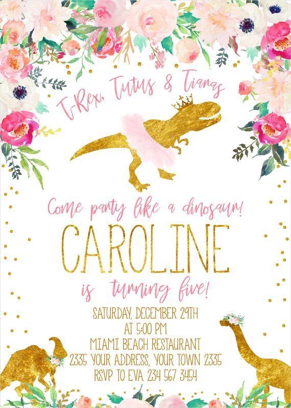 Floral Dinosaur Birthday Invitation T Rex Tutus Amp Tiaras