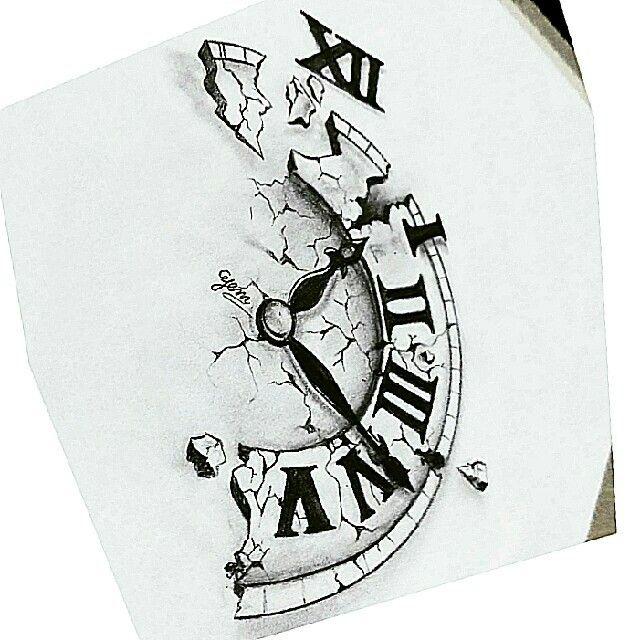Broken Clock Drawing With Images Clock Drawings Clock Tattoo