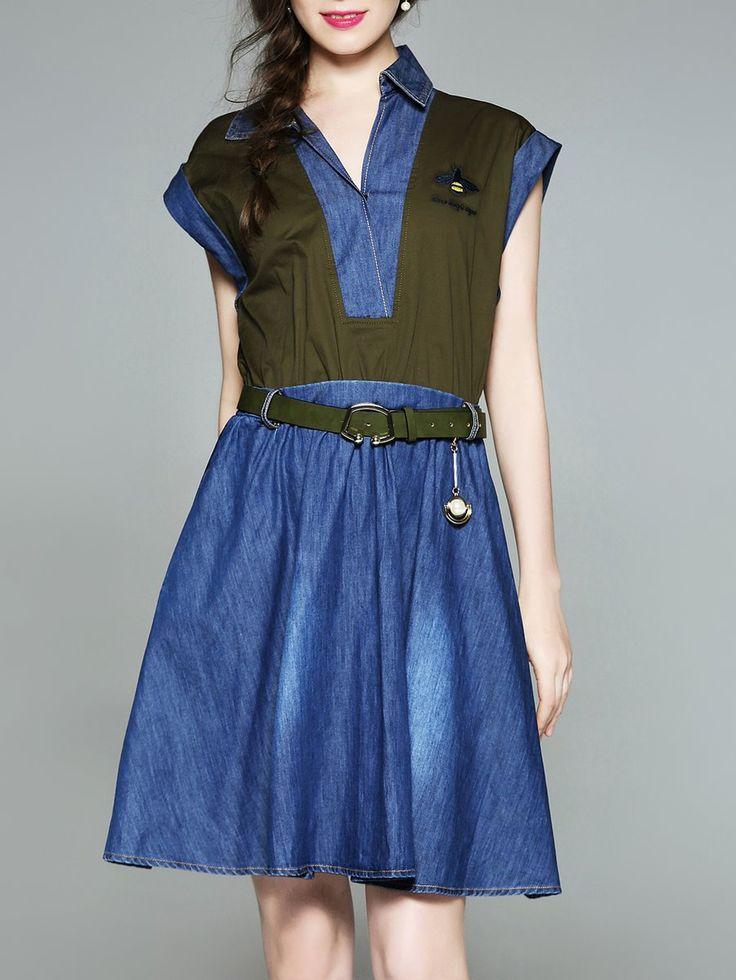 #AdoreWe #StyleWe Midi Dresses❤️Designer SLDR Blue Short Sleeve Denim Midi Dress - AdoreWe.com