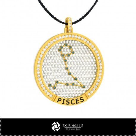 3D CAD Pisces Zodiac Constellation Pendant