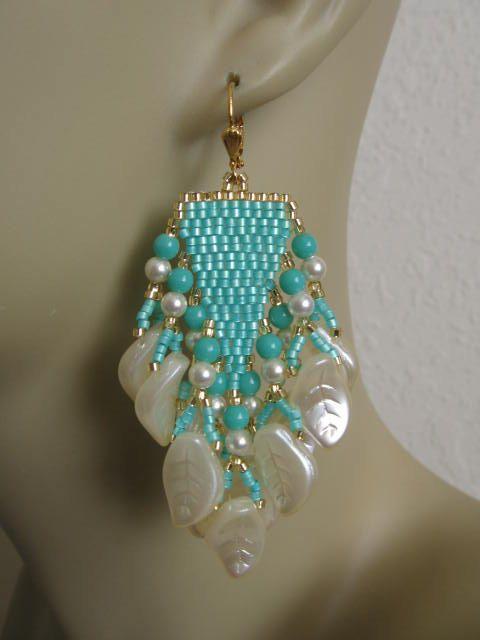 Orecchini di perla Beadwoven Aqua/crema di semi di pattimacs