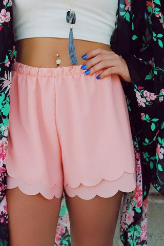 Peach Scalloped Hem Shorts | UOIOnline.com: Women's Clothing Boutique