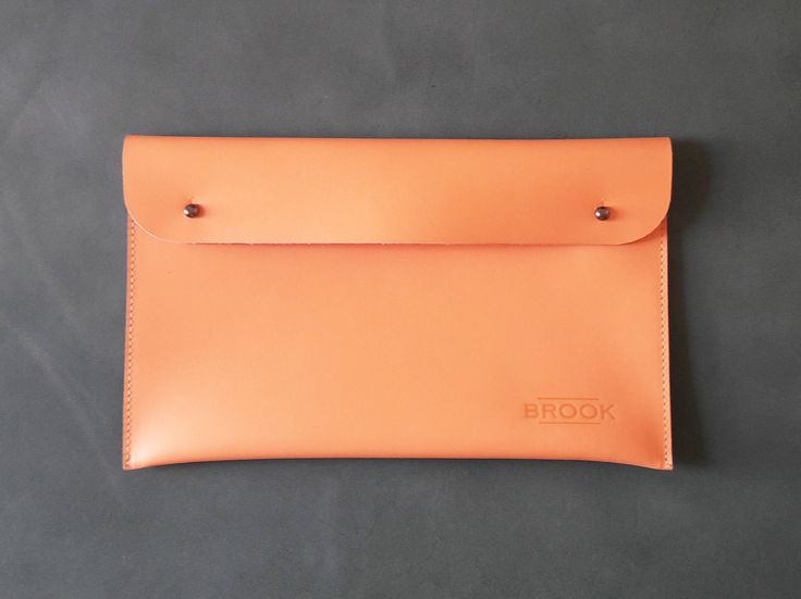 Leather Bag, Handbag, Handmade Clutch, Peach Orange Color by Brookleathergoods on Etsy