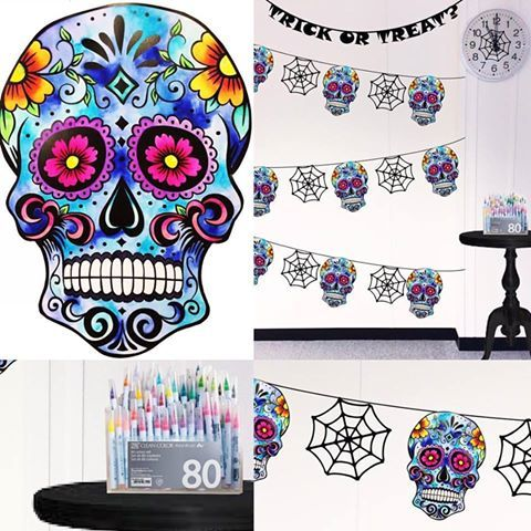 Made using a sugar skull link attached. Using clean color real brush we customised this skill and created bunting. Using mangaka range we created spider webs
