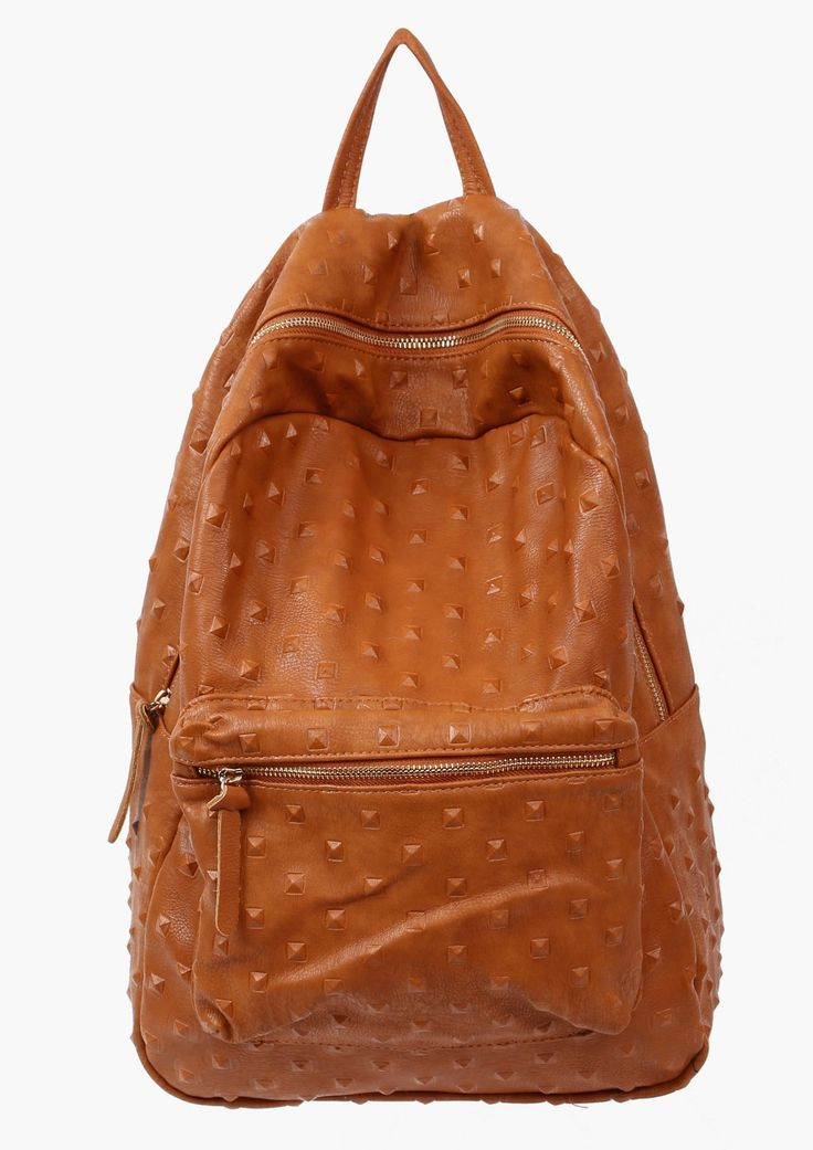 A simply understated back pack! This piece has a faux leather exterior throughout with covered spikes throughout. Has multiple compartments throughout with zippers. Has two straps for shoulders and buckles for length adjustment.