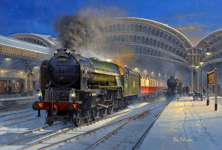 Painting of The Flying Scotsman train at York station
