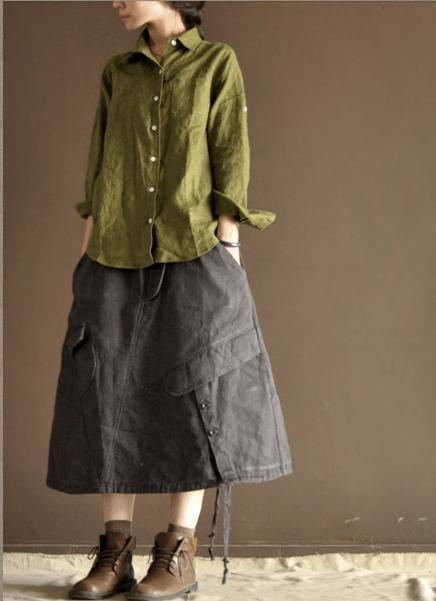 Green Loose Cotton Long Sleeved Shirt via Etsy.