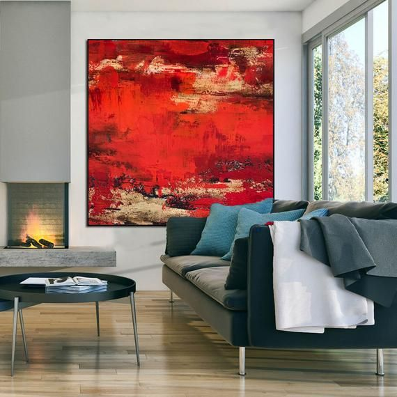 Extra Large Painting On Canvas Large Abstract Painting Red Etsy In 2020 Red Paintings Canvas Large Painting Large Canvas Painting #red #paintings #for #living #room