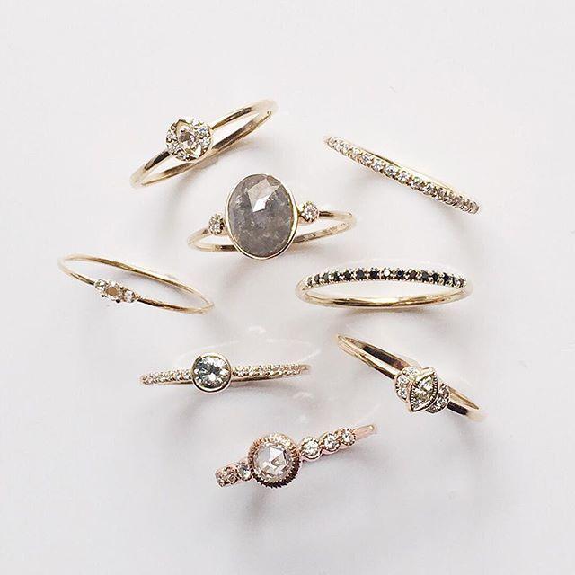 Vale Jewelry white, black, salt & pepper and gray diamond rings