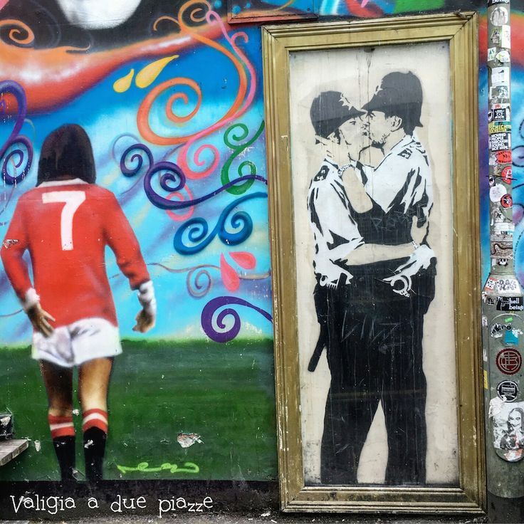Brighton, Kissing Cops Mural - Graffiti