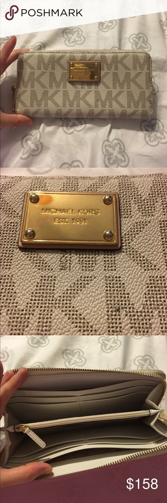 *LOWEST* MK Vanilla Large Wallet Michael Kors Vanilla Authentic Large Wallet. Great condition. Only flaw is there's minor scratches on the hardware, but barely noticeable. Tons of slots for cards. So cute. Michael Kors Bags Wallets