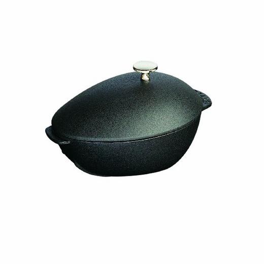 STAUB: Mussel Pot, 2QT, Black Matte Enameled Cast Iron With Knob. $119.95