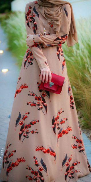 Modest long sleeve cherry printed maxi dress full length | Mode-sty #nolayering