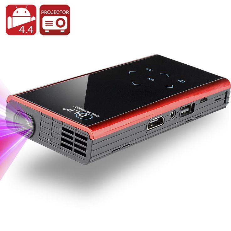 Image of 120 Lumen Mini Android DLP Projector - Android 4.4, Quad Core CPU, 1000:1 Contrast Ratio, Wi-Fi, DLNA, Miracast, Airplay (Black)