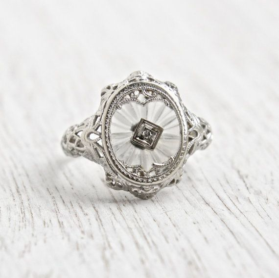 Antique Art Deco 14K White Gold Camphor Glass Diamond Ring - Size 5 3/4 1920s Filigree Rare Fine Jewelry / Frosted Glass Crystal