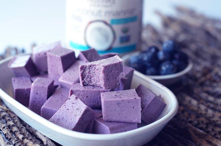 Coconut Blueberry Jigglers kitchen.nutiva.com Gluten Free Organic Coconut Manna Nutiva