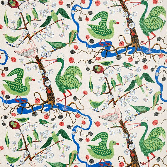 "Josef Frank Designer Cotton Satin Fabric ""Green Birds"" - 0.55 yards"