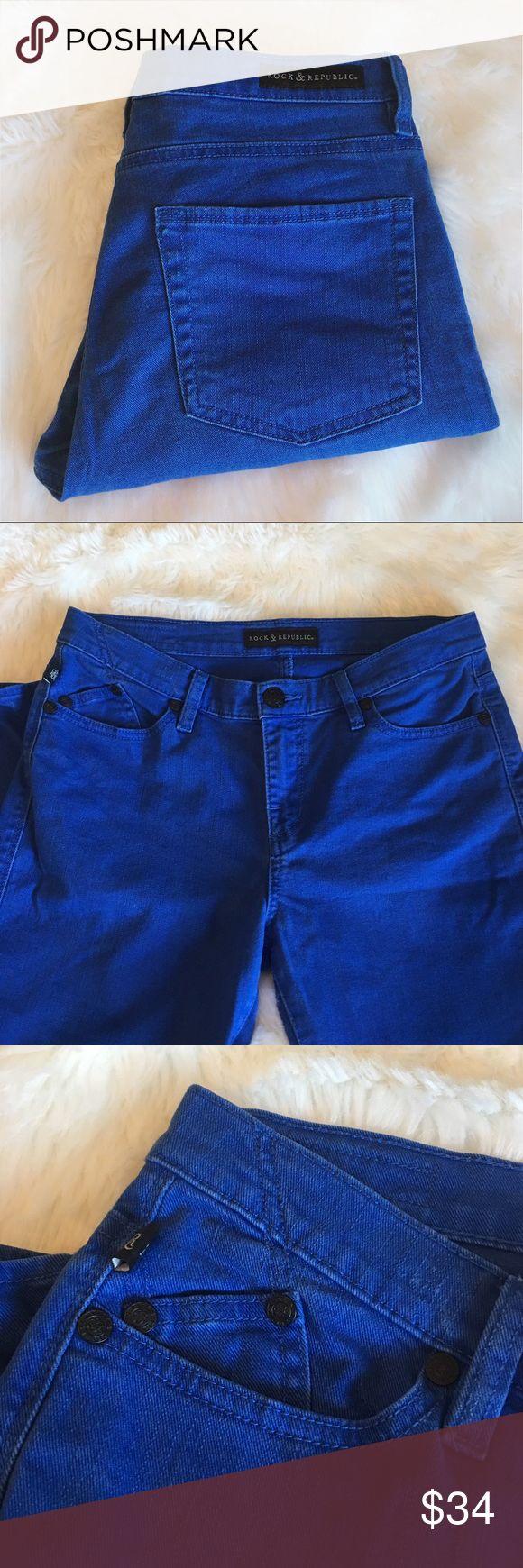 "Rock & Republic   Blue Hamburg Cropped Skinny Jean Good condition. Rock & Republic Hamburg jeans. Royal blue denim. Slight stretch - 98% cotton / 2% spandex. Size 12. Waist 16.5"". Inseam 26"". Leg opening 5.5"". Rise 9"". Hips 18"". Outseam 36"". No trades, offers welcome. Rock & Republic Jeans Skinny"