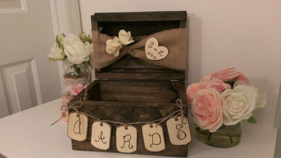 personalized rustic card box burlap wedding by RedHeartCreations