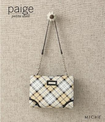 Paige Petite Shell, Cream and Yellow Plaid Design www.michebag.co.za