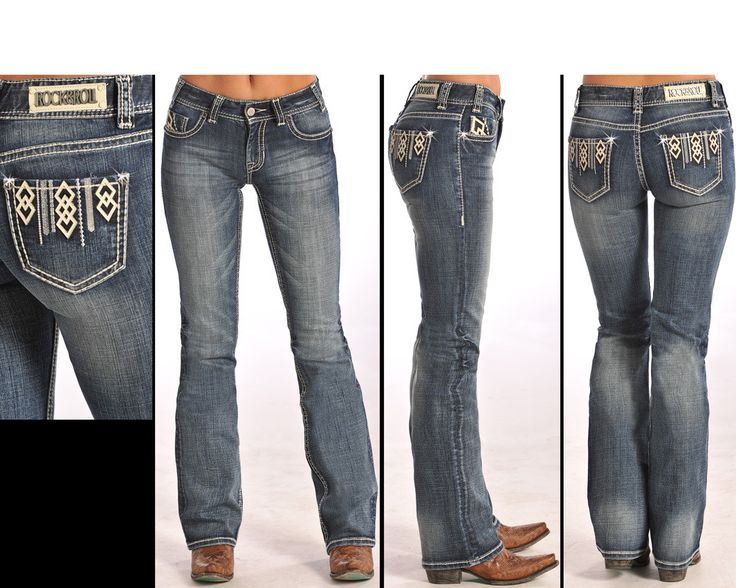 Rock & Roll Cowgirl Junior's Diamond Mid-Rise Boot Cut Jeans W1-5619
