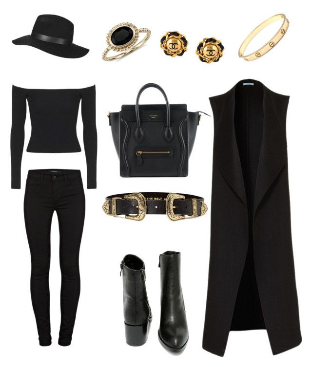 """Model Off Duty Style"" by j-elizabeth-cha on Polyvore featuring Very Volatile, J Brand, Topshop, B-Low the Belt, Blue Nile, Cartier, Chanel, StreetStyle, chic and allblack"