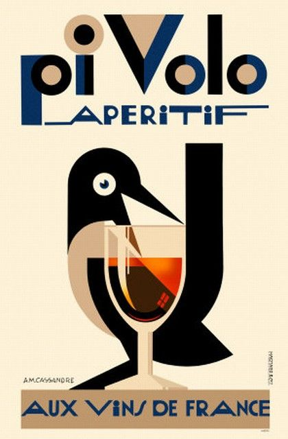 Pivolo aperitif french red wine bird goblet glass france vintage poster repro