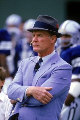 SAN DIEGO - NOVEMBER 16:  Head coach Tom Landry of the Dallas Cowboys watches from the sideline during a game against the San Diego Chargers on November 16, 1986.  Tom Landry coached the Cowboys from 1960 to 1988, leading them to two Super Bowl victories.