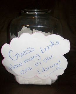 Use this idea for National Library Week in your classroom library or in the school's library! Hmmm do it during orientation and when all classes are finished, give out a prize to the winner.