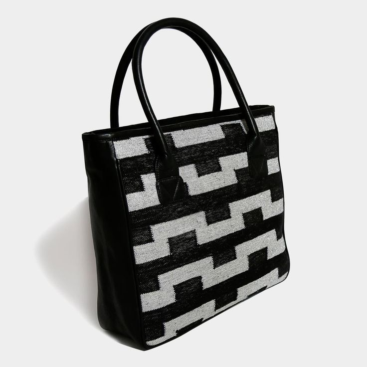 Handwoven Black Leather Dhurrie Oasis Tote Bag