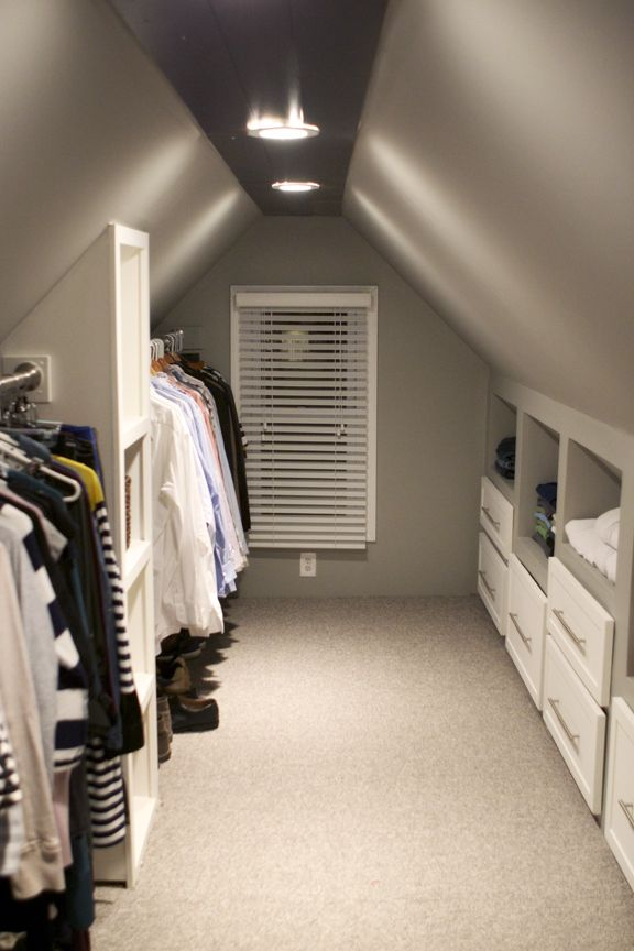 ❧ converting an attic into a closet, DIY attic closet | The best attic home design ideas! See more inspiring images on our boards at: http://www.pinterest.com/homedsgnideas/attic-home-design-ideas/