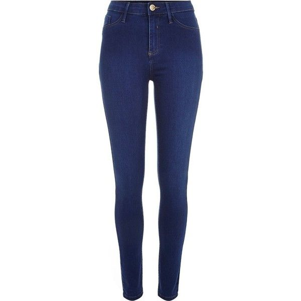 River Island Bright blue wash Molly jeggings found on Polyvore featuring pants, leggings, jeans, bottoms, blue, jeggings, women, bright blue pants, jean leggings and zipper pocket pants